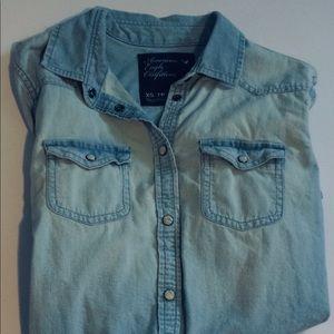 American Eagle Blue Jean Shirt